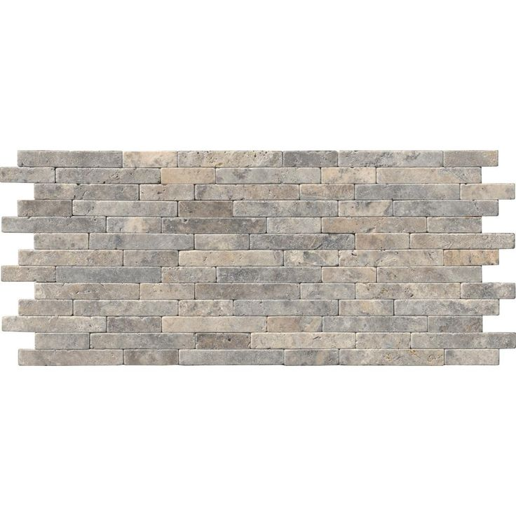 MS International Silver Ash Veneer 8 in. x 18 in. x 10 mm Tumbled Travertine Mesh-Mounted Mosaic Tile (10 sq. ft. / case), Gray