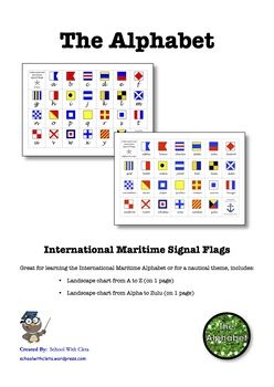 Great for learning the International Maritime Alphabet or for a nautical theme, includes:    ⚓ Landscape chart from A to Z (on 1 page)    ⚓ Landscape chart from Alpha to Zulu (on 1 page)  You could also use these as flashcards too.  ***************************************************************************  There are other products in this series which can be used in conjunction with these charts.