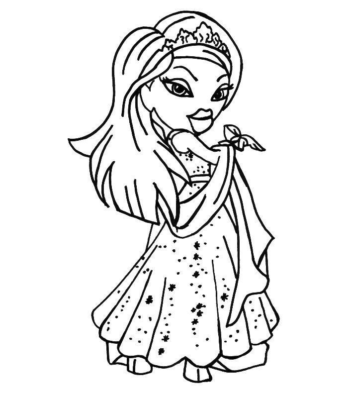 Printable Cartoon Yasmin Bratz Coloring Pages For Girls