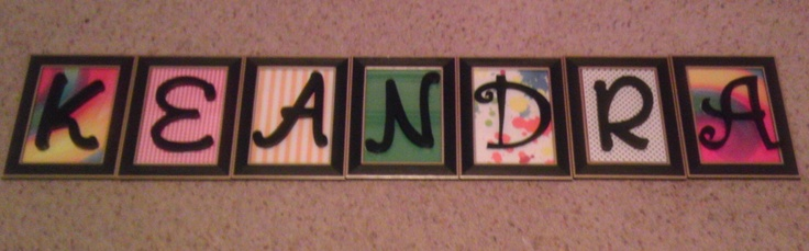 "I made this ""name frame"" for my coworker's sister to add a little pizzazz to her dorm room. It was very simple and cost efficient to make. All you need is scrapbook paper, picture frames (which you can get at the dollar  store), and wooden letters (which I glued on the glass of the frame). In less than 30 minutes you will have a nice ""name frame"" that will add style to any room!"