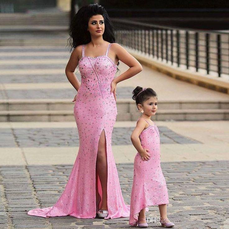 2017 Said Mhamad Pink Mother Daughter Matching Dresses Rhinestones Beaded Mermaid Prom Dress  Evening Gowns For Wedding