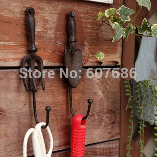 ==> [Free Shipping] Buy Best 2 Sets/ 4 Pieces Cast Iron Wall Hook Spade Shovel and Fork Shape Vintage Decorative Garden Hanger Hooks Rustic Art Free Shipping Online with LOWEST Price | 1588713693