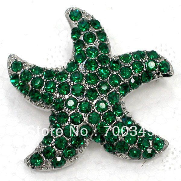 12 piece/lot изумруд кристалл горный хрусталь морская звезда булавка брошь C2156 M