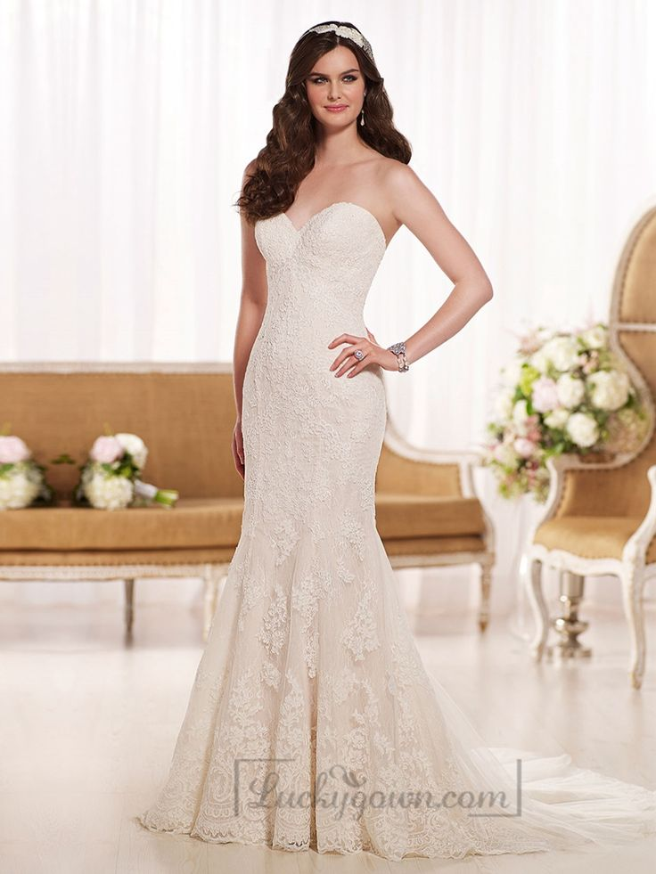 Elegant Fit and Flare Sweetheart Lace Wedding Dresses