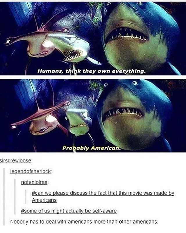 "Literally i make america jokes liek this all the time and if you arent american this is what you must think of us you see some tourists and are liek ""probably american"" -sam feels like she doesnt belong in this country/family -sam #textpost #tumblr #findingnemo #emonemo"