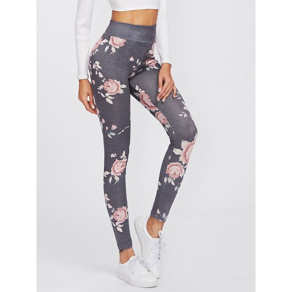Flower Print High Waist Leggings ($8.19) ❤ liked on Polyvore featuring pants, leggings, multicolor, high waisted leggings, high waisted trousers, high rise leggings, multi coloured leggings and floral print leggings