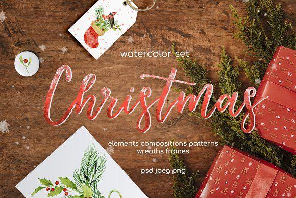 Christmas watercolor set by IrinaUsmanova on @creativemarket