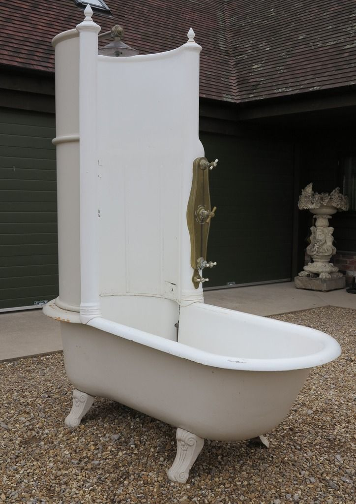 Antique Reclaimed Cast Iron Canopy Shower Bath With Brass ...