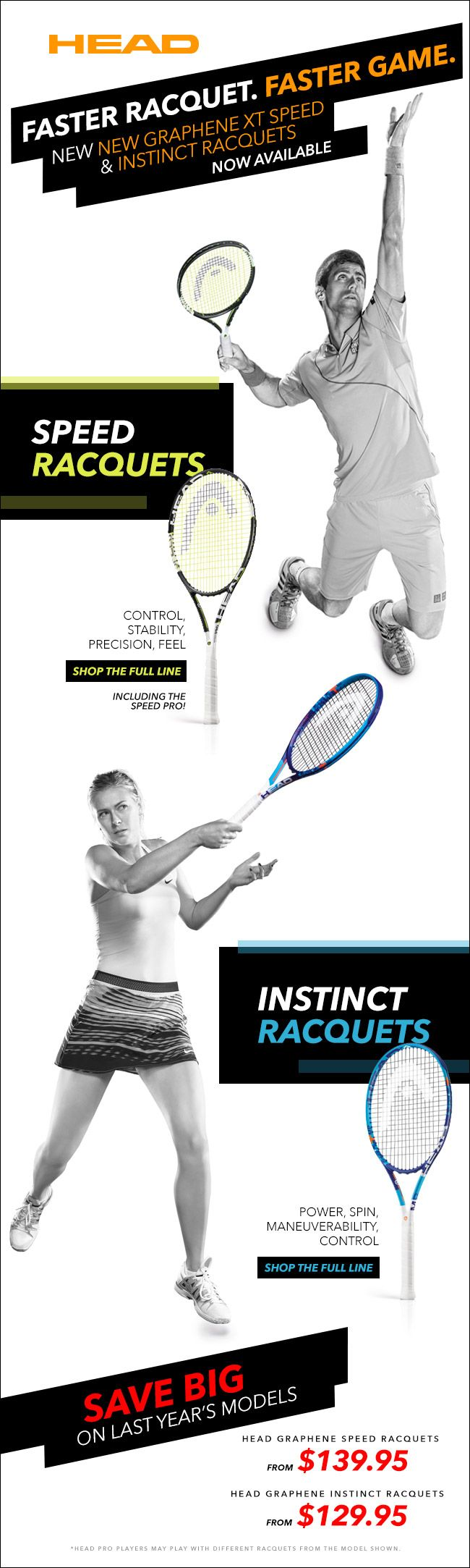 New HEAD Graphene XT Speed and Instinct Racquets are now available!