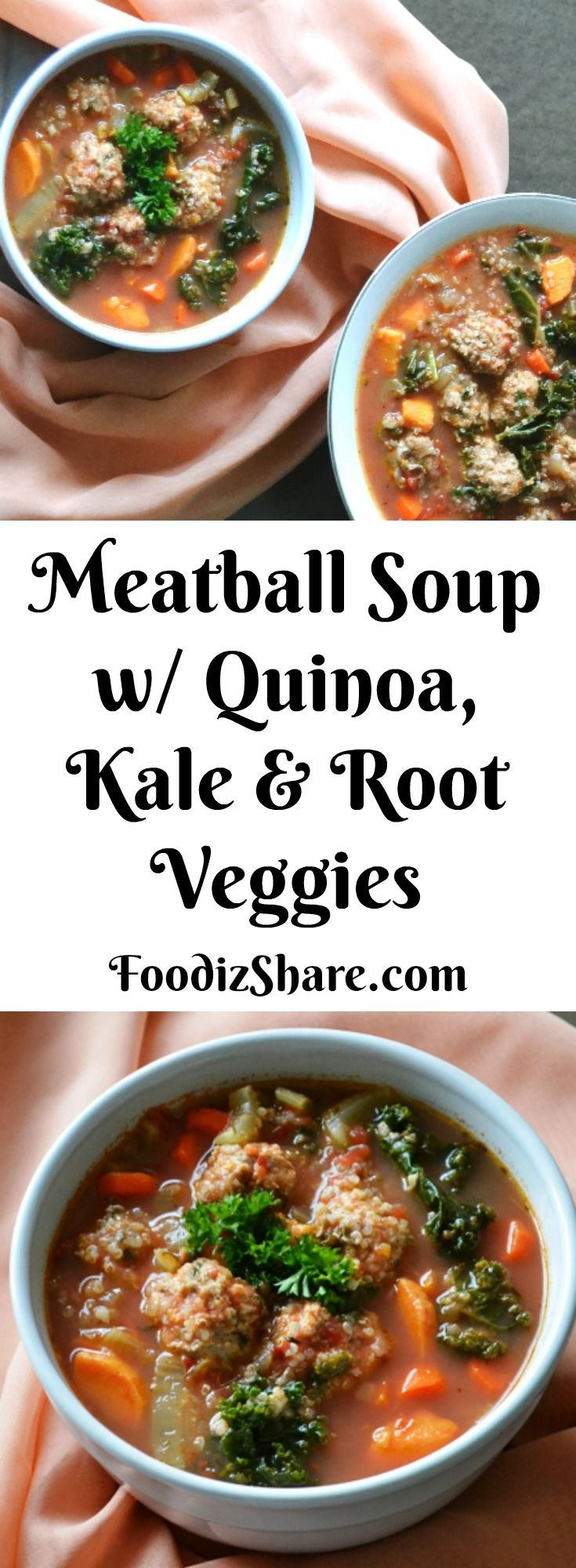 A #healthy & hearty #meatballs #soup made with ground #chicken , #quinoa , #kale and other vegetables making it #delicious as well as nutritious. #meat #vegetables #comfortfood #healthyeating #easyrecipe #recipes #glutenfree #dairyfree