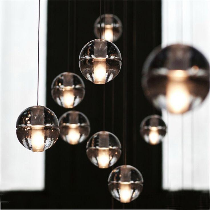 Lampe - Suspensions - Style moderne simple Suspension balle cristal verre processus de placage coloris transparent 5 ou 7 lumières