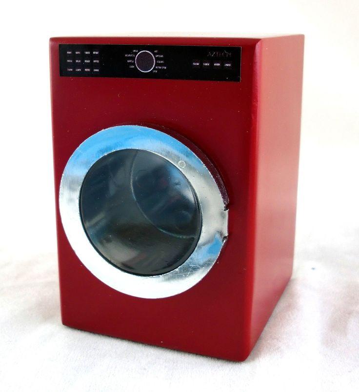 Dolls House Minaiture 1:12 Scale Kitchen Laundry Furniture Red Washing Machine | eBay