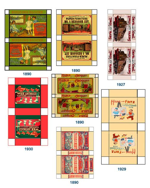 Dolls House miniature printable games Vintage pre 19501