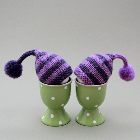 Hats for your eggs.  Cute!