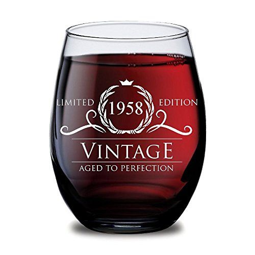 1958 60th Birthday Gifts For Women And Men Wine Glass Funny Vintage Anniversary Gift Ideas Him Her Husband Or Wife Cups Dad Mom