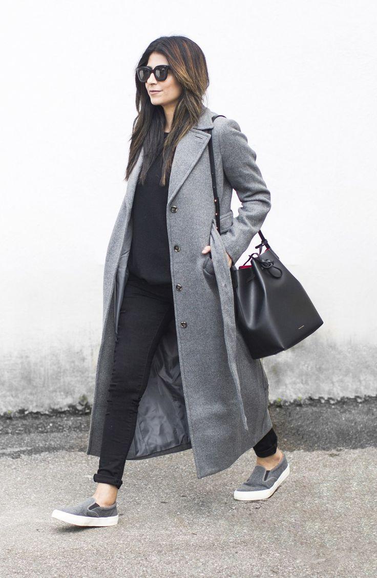 Fashion Landscape | Grey Coat, Slip Ons, Mansur Gavriel Bucket Bag