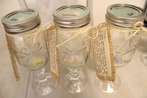 redneck wine glasses an inexpensive gift idea, crafts, repurposing upcycling, I made a little note by gluing paper to burlap as a unique alternative to a greeting card