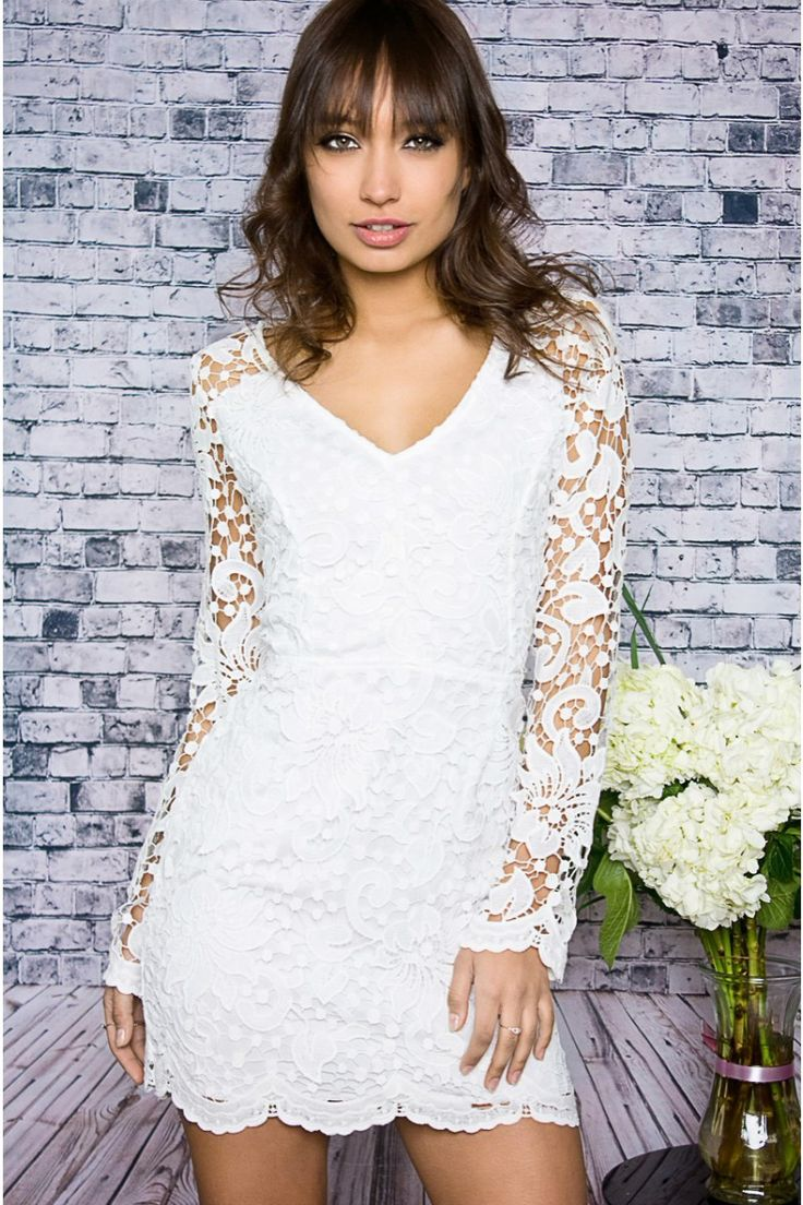 White Crochet Dress with Long Sleeves