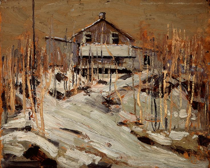 """When it was too cold to camp out in his tent in Algonquin Park, Thomson often stayed at Mowat Lodge, where workers at the local lumber mill lived. Tom Thomson, """"Mowat Lodge (or Fraser's Lodge),"""" 1915, Art Gallery of Alberta."""