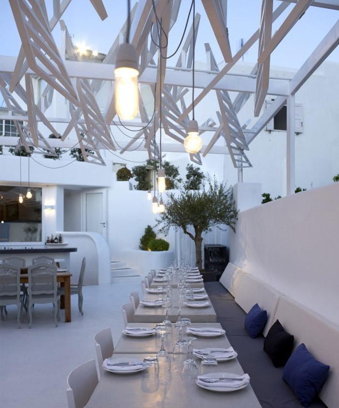 home interior ideas phos restaurant in mykonos town lm architects martyn lawrence bullard designed bedroom rug and storage unit - Beaded Inset Restaurant Interior
