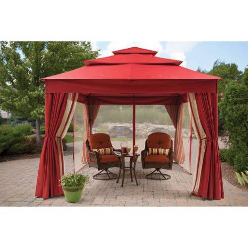 Outdoor Patio Canopy Gazebo Mosquito Netting Sun Panel Red Wedding Dining Party #BetterHomesandGardens