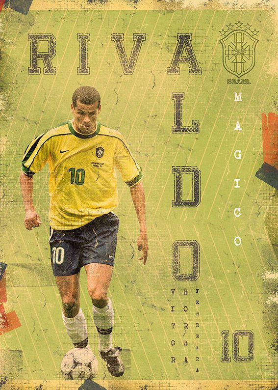 The Gods Of Football (Part II) by Marija Marković on Behance — Rivaldo Vítor Borba Ferreira, Brazil