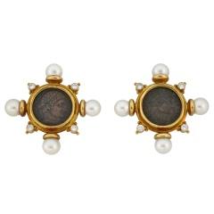 Elizabeth Gage Gold and Diamond Earrings