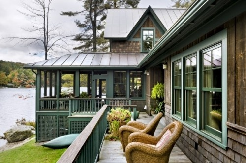 Lake house updated exterior love the screened in porch - Rustic home exterior color schemes ...
