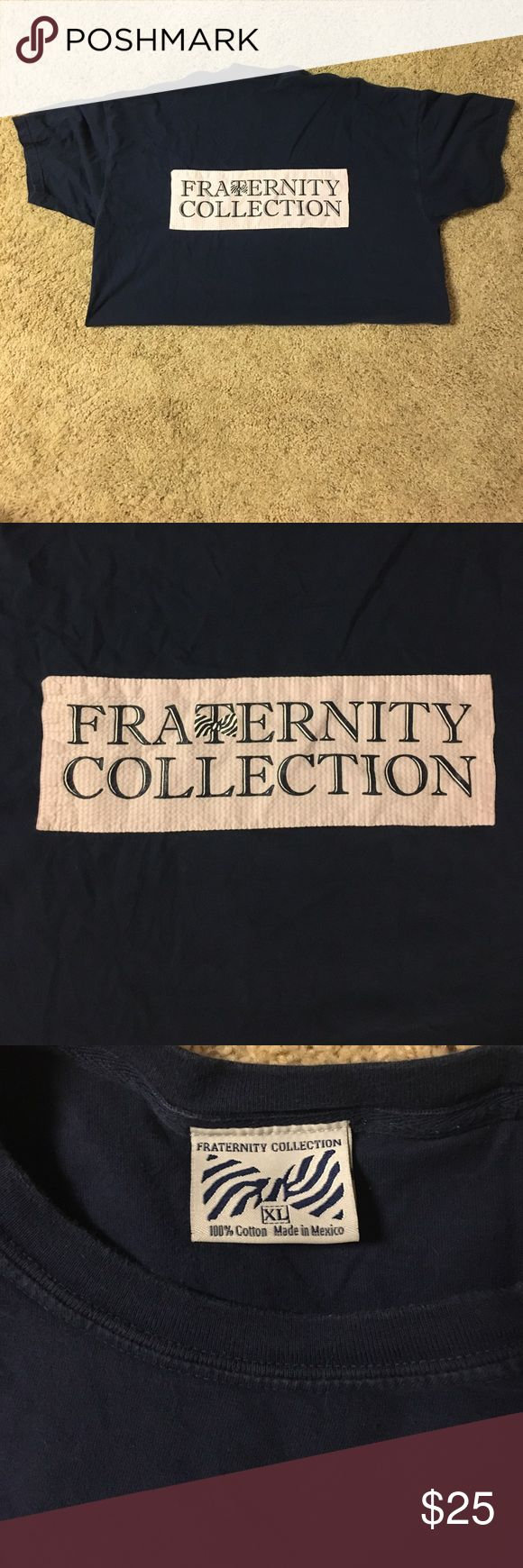 Fraternity Collection Tshirt Fraternity Collection XL Tshirt. Navy blue and pink. Short sleeve with seersucker pocket. I've worn it once and it doesn't fit right. It's too long on me fraternity collection Tops Tees - Short Sleeve