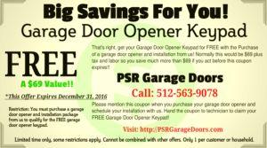Coupon Garage Door Opener Coupon – Free Keypad