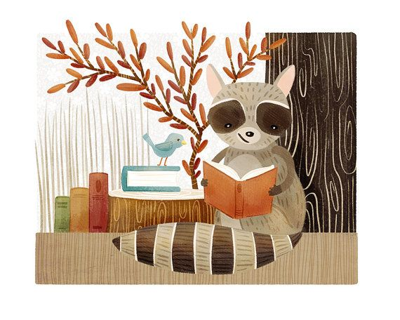 A print of my original illustration, The Bookish Forest: Raccoon *Available in 8 x 10 and 11 x 14 inches only, please select size in the