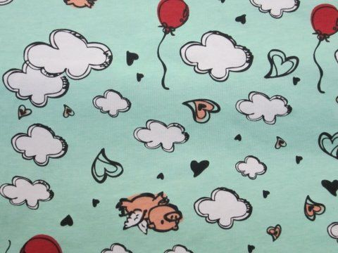 Adorable Flying Pigs Cotton Lycra KNit Fabric  on Spearmint