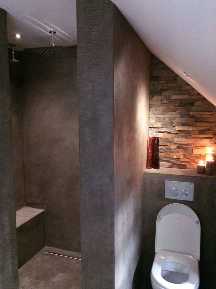 concrete and brick bathroom. needs some greenery though...