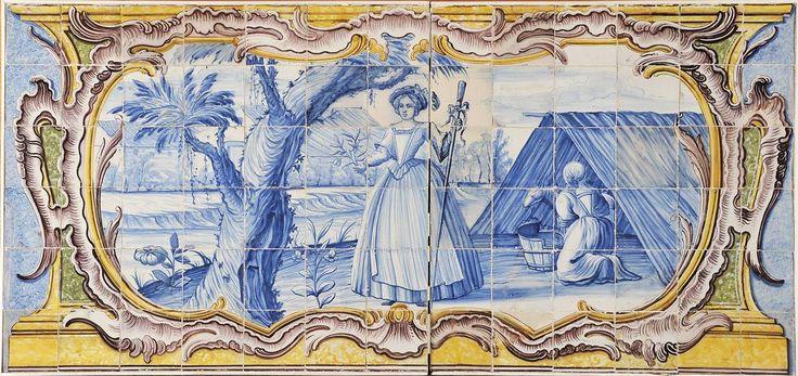 Cena campestre   painel de 78 azulejos     decoração a azul, cartela rococó a amarelo, verde e vinoso. Origem português,  séc. XVIII (último terço)
