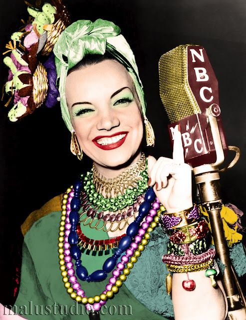 Carmen Miranda (born Maria do Carmo Miranda da Cunha; Solo samba singer & musical film/theater vocalist. Her Brazilian theatricality is considered the precursor of Brazil's Tropicalismo, cultural movement of the 1960s