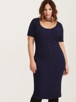 Navy Ribbed Knit Button Front Dress in Ink