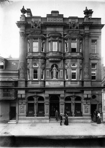 Standard Bank Building.Located at 28 Elizabeth St,Sydney.Built in the Victorian Mannerist style of rendered brick stone construction.Demolished for street widening.A♥W