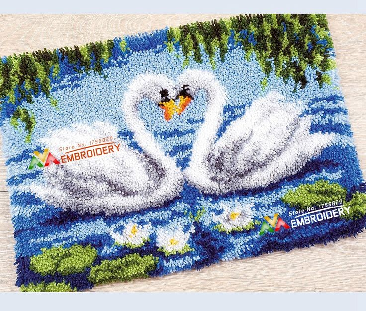 Latch Hook Rug Kits DIY Needlework Unfinished Crocheting Rug Yarn Cushion  Mat Swan Lovers