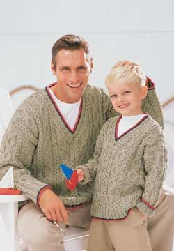 Lightweight man and boys cabled knit sweaters that are great for layering on a windy day. contrast color trim