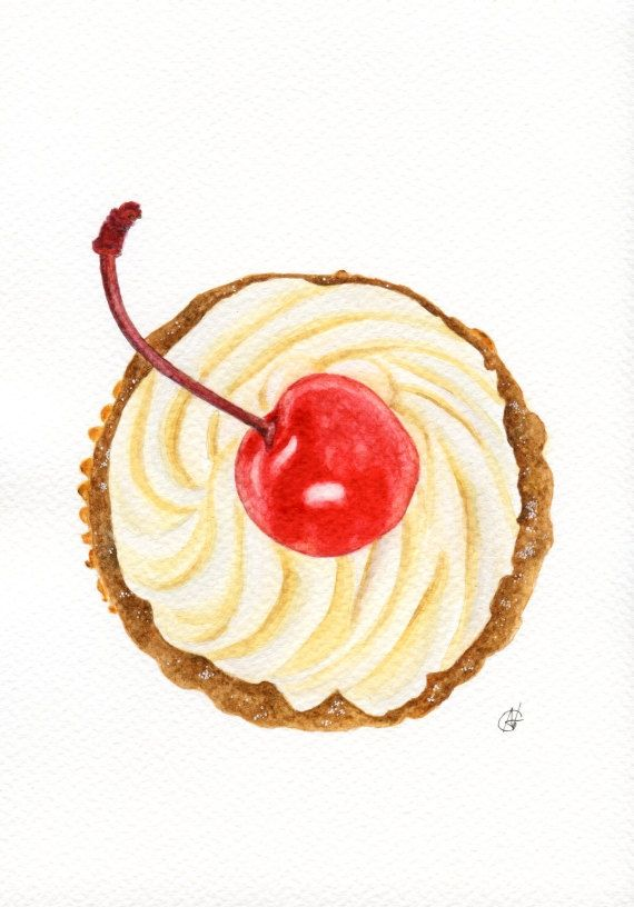 Cherry Cupcake  ORIGINAL watercolour painting by ForestSpiritArt, £22.00