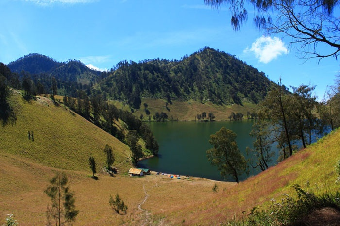 Ranu Kumbolo Lake. Seen from Tanjakan Cinta, Mt. Semeru