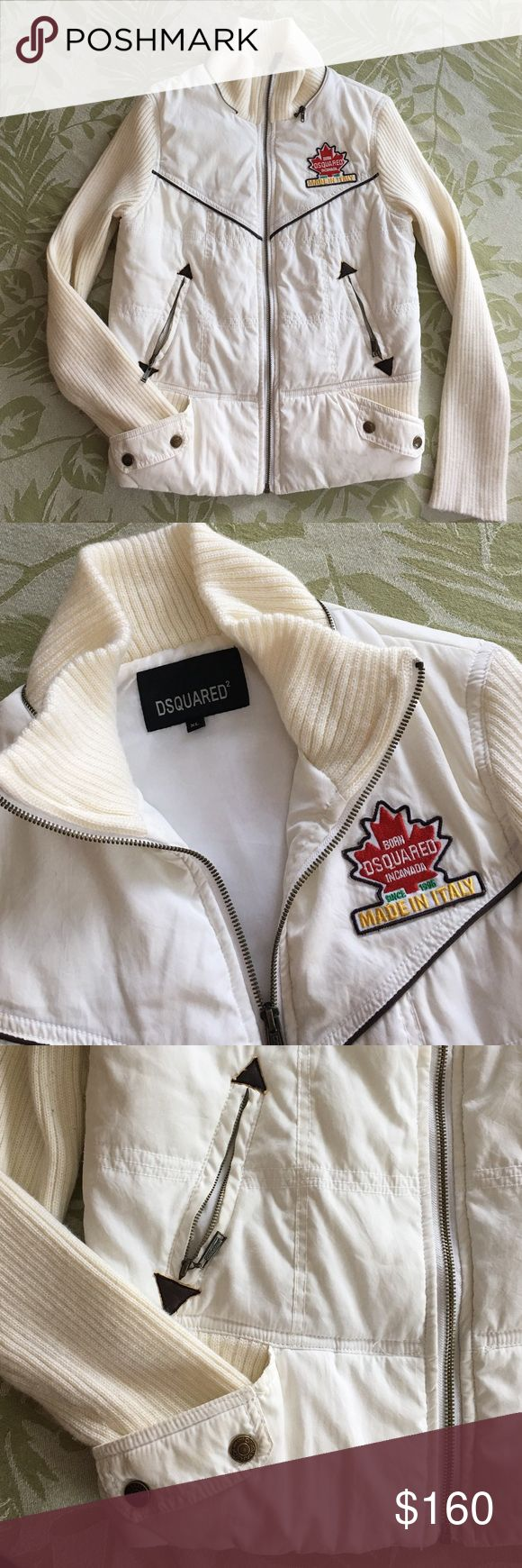 DSQUARED2 white zipper jacket made in Italy Medium Made in Italy. Tag says it's XL but it runs small. It's a size Medium. Leather accents, two exterior pockets. Just a great jacket! DSQUARED Jackets & Coats Puffers