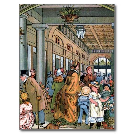 """""""Covent Tuin de Vintage Illustratie, van Londen"""" Wens Kaart"""