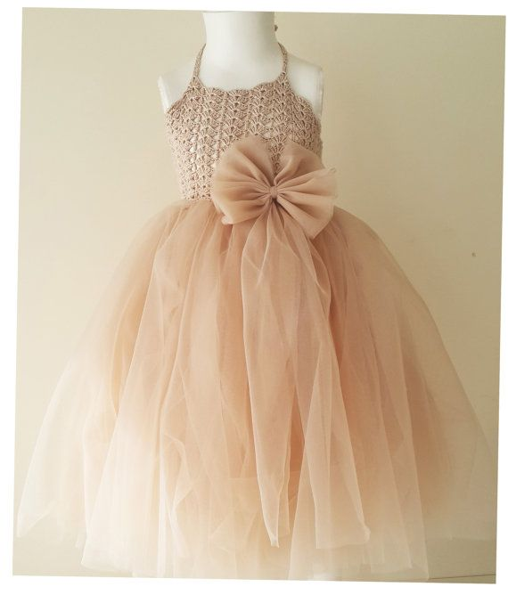 Ready to ship. Size 12-18 month. Ankle Length Blush  Girl  Tutu Dress. Flower Girl Tulle Dress with Lace Stretch Crochet Bodice