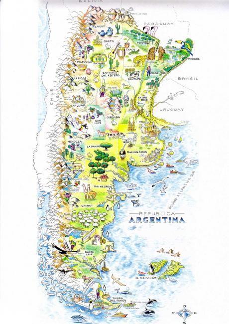 Ilustración del Mapa turístico de Argentina (Drawing) por Mario Luis Rivero