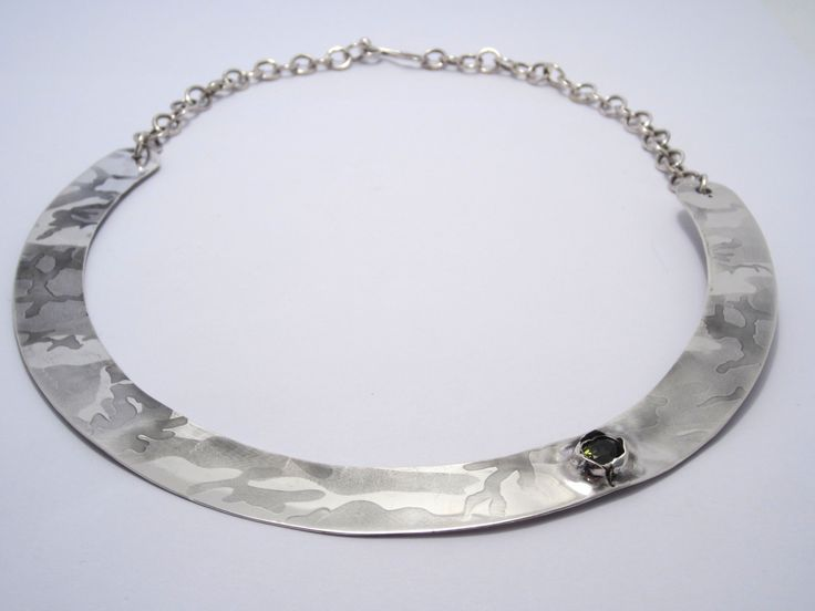 Anna Balasoglou - Camo Collar - sterling silver engraved with camoflage pattern & tourmaline in bullet hole setting