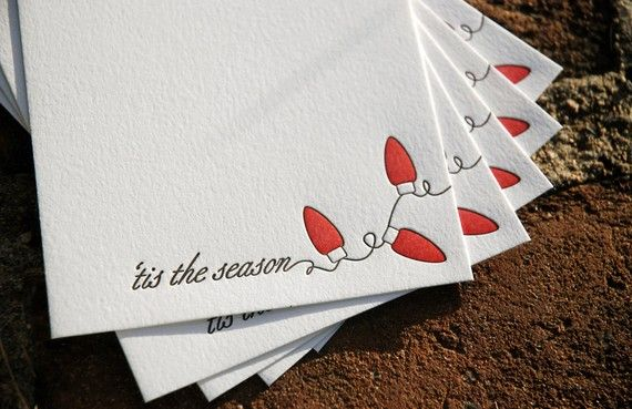 5 Holiday Lights Holiday Cards, modern holiday lights design (letterpress printed) on Etsy, £9.83