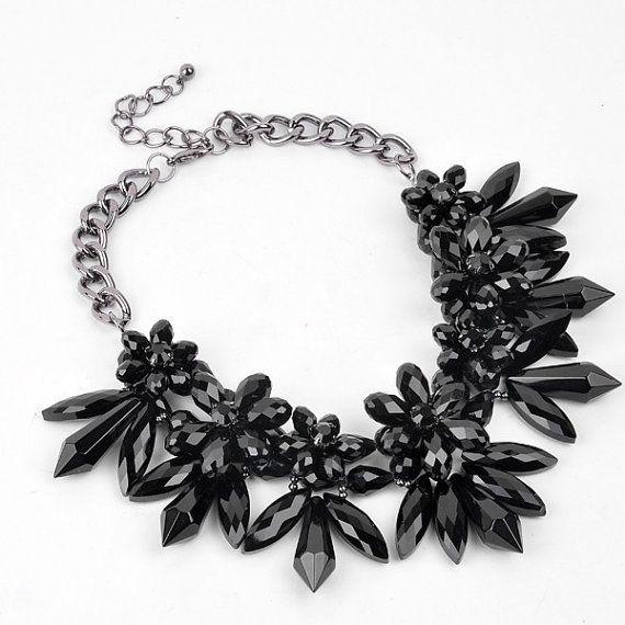 FJ Fashion Jewelry Large Simulated Stone Black by Glamorosajewelry