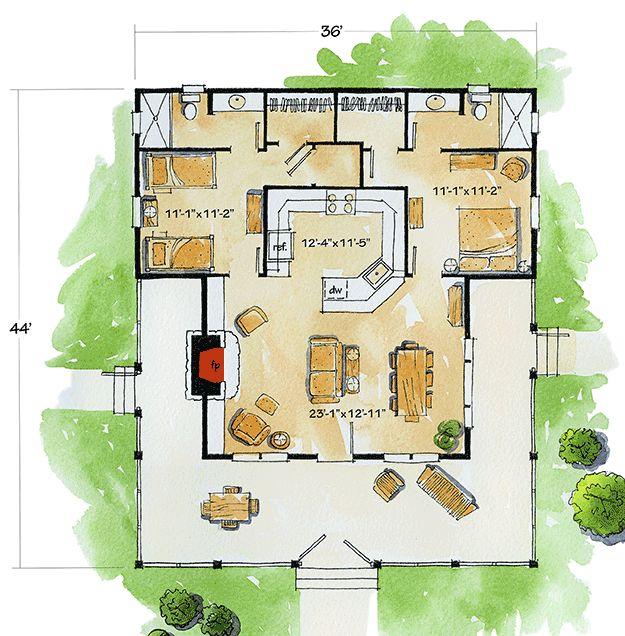 Plan 11524KN: Bunkhouse with Wraparound Porch