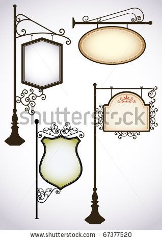 stock vector : Wrought iron vintage signs set